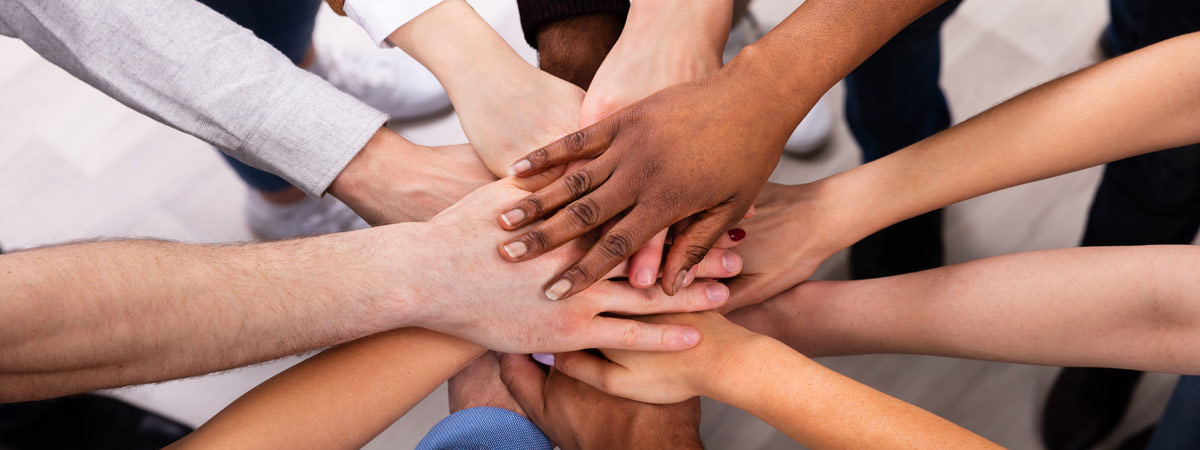 Group of diverse students hands